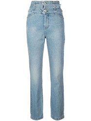 Jonathan Simkhai Belted High Waisted Jeans Blue
