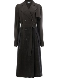 Yang Li Python Effect Trench Women Cupro 40 Black
