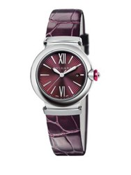 Bulgari Lvcea Stainless Steel And Alligator Strap Watch Purple
