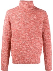 Isaia Ribbed Roll Neck Sweater Pink