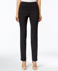 Charter Club Plaid Slim Leg Pants Only At Macy's Heather Grey Combo