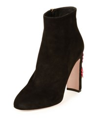 Dolce And Gabbana Suede Ankle Boot W Jeweled Heel Black