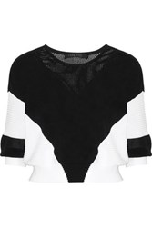 Ohne Titel Paneled Knitted Cotton Sweater Black