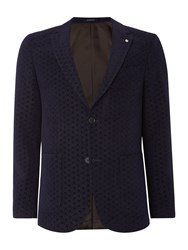 Peter Werth Men's Aldous Geo Wool Cotton Mix Blazer Navy