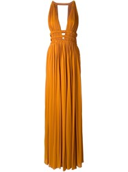 Jay Ahr V Neck Sleeveless Long Dress Yellow And Orange