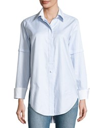 Helmut Lang Long Sleeve Convertible Striped Poplin Shirt Light Blue