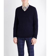 Paul Smith V Neck Merino Wool Jumper Navy