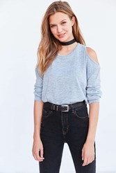 Silence And Noise Kaitlyn Cold Shoulder Sweater Blue
