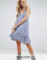 Milk It Vintage Cami Dress With Peplum Hem In Gingham Blue