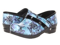 Sanita Hanna By Koi Blue Printed Patent Leather Women's Clog Shoes Black