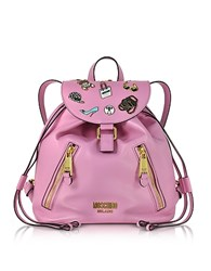 Moschino Pink Leather Backpack W Pins
