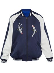 P.A.M. Beyond The Abyss Embroidered Satin Track Jacket Navy White