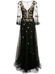 Marchesa Notte Floral Embroidery Gown Black