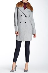 Vince Wool Blend Removable Genuine Coyote Fur Collar Peacoat Nordstrom Exclusive Gray
