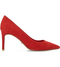 Dune Abbigail Suede Court Shoes Red Suede