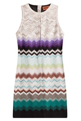 Missoni Crochet Knit Mini Dress With Cut Out Multicolor