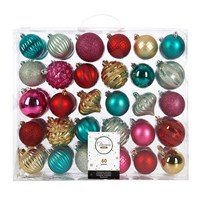 Amara Set Of 60 Baubles Gold Red Pink Turquoise