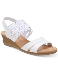 Impo Gamila Stretch Embellished Wedge Sandals White