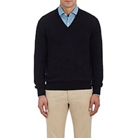 Barneys New York Men's Cashmere V Neck Sweater Blue