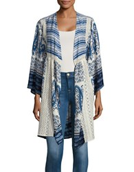 California Moonrise Printed Lace Trimmed Topper Blue