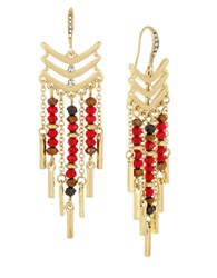 Laundry By Shelli Segal Beaded Chandelier Earrings Red
