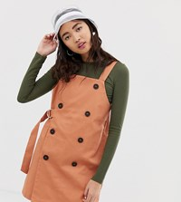 Monki Dungaree Dress With Sided Belt In Peach Beige