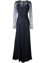 Nina Ricci Lace Detail Overlay Dress Blue