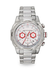 Saks Fifth Avenue Stainless Steel Embossed Chronograph Dial Watch Silver