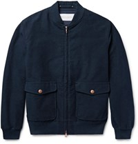 Private White V.C. Cotton And Cashmere Blend Bomber Jacket Navy