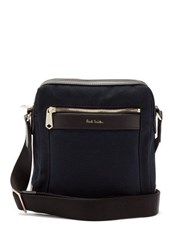 Paul Smith Leather Trim Cotton Canvas Cross Body Bag Navy