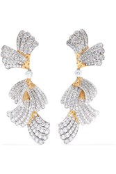 Buccellati 18 Karat White And Yellow Gold Diamond Earrings One Size