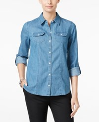 Charter Club Denim Utility Shirt Only At Macy's Dusk Chambray
