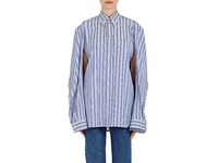 Balenciaga Women's Convertible Sleeve Striped Cotton Shirt No Color