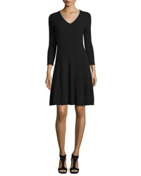 Magaschoni Ribbed Cashmere Fit And Flare Dress Black