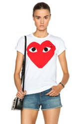 Comme Des Garcons Play Cotton Red Heart Emblem Tee In White