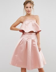 Chi Chi London Occasion Crop Top In Satin Co Ord Pink