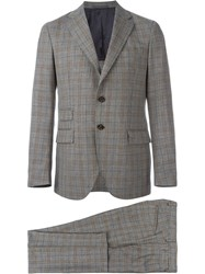 Eleventy Checked Suit Brown