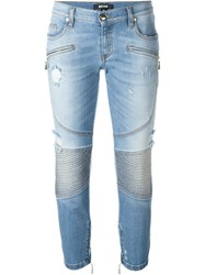 Just Cavalli Cropped Biker Jeans Blue