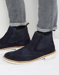 Tommy Hilfiger Metro Suede Brogue Chelsea Boots Navy