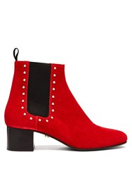 Alexachung Stud Embellished Suede Chelsea Boots Red