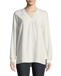 Lafayette 148 New York Wyatt Matte Silk Blouse Cloud
