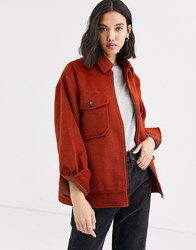 Native Youth Relaxed Zip Through Jacket With Pockets Tan