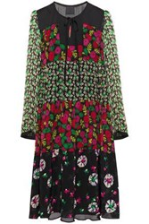 Anna Sui Woman Paneled Floral Print Silk Chiffon Crepe And Georgette Dress Black