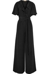 Michael Kors Collection Ruffled Silk Crepe Jumpsuit Black