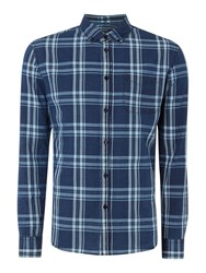 Criminal Peter Large Check Long Sleeve Shirt Navy