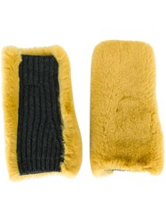Marni Rabbit Fur Mittens Yellow And Orange