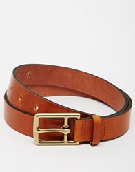 Asos Leather Belt In Tan With T Bar Buckle Brown