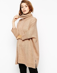 Asos Cape Tunic With Roll Neck Camel