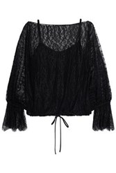 Bailey 44 Gathered Lace Blouse Black