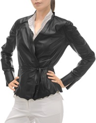 Forzieri Black Leather Lightweight Belted Jacket
